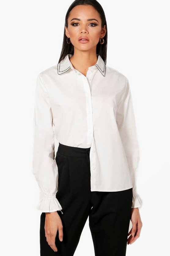 Embriodered Collar Detail Shirt