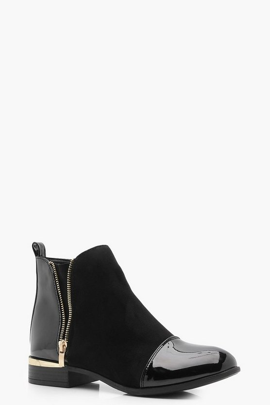 Alexis Mix Material Zip Chelsea Boots