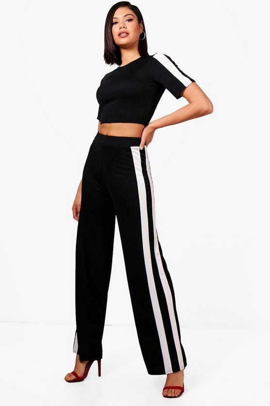 Liz Sports Stripe Wide Leg Trouser Co-ord