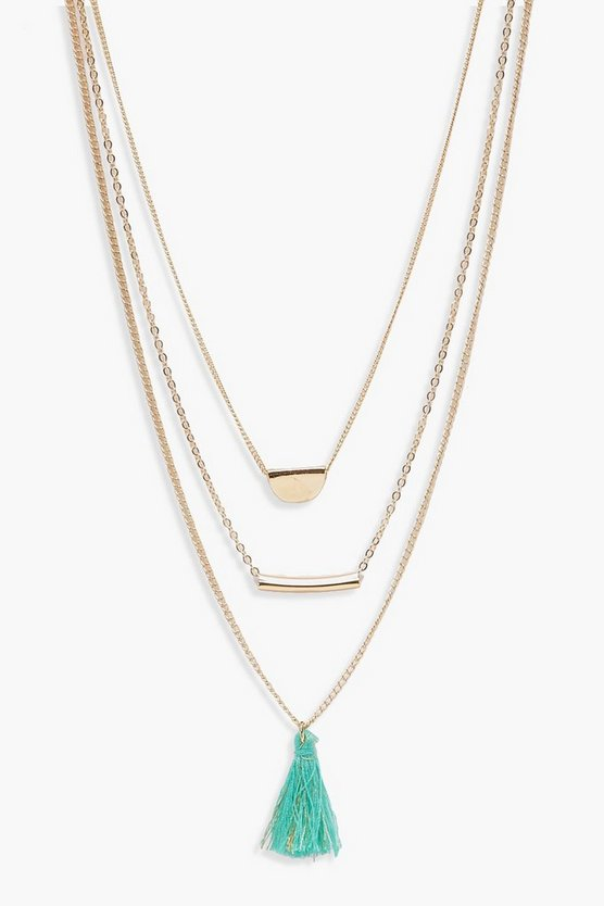 Amy Layered Tassel & Bar Necklace