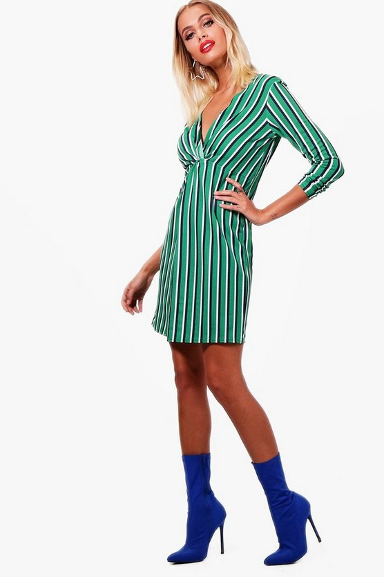 Stripe Twist Knot Front Shift Dress