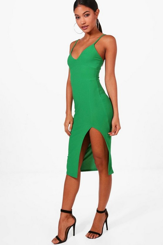 Jessica Plunge Neck Side Split Midi Dress