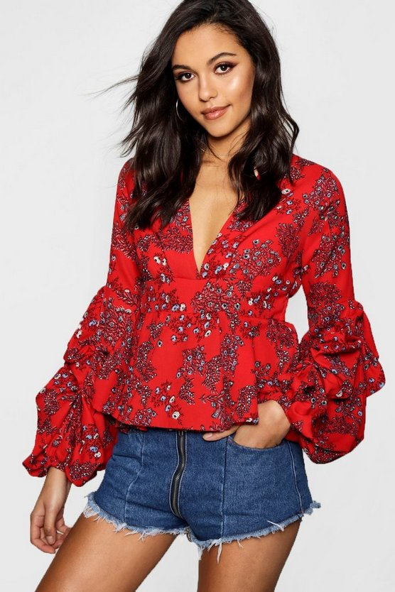 Niamh Floral Plunge Ruffle Sleeve Top