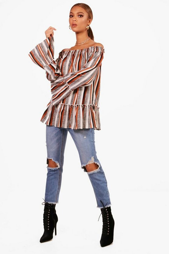 Evelyn Stripe Woven Off The Shoulder Top