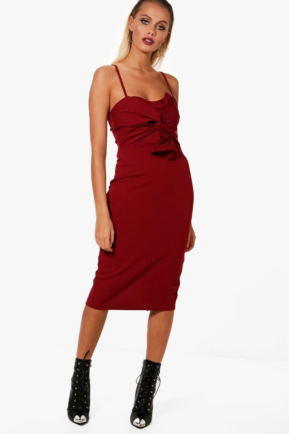 2018 Unisex For Sale Cheap With Credit Card Boohoo Natalia Strappy Bow Front Midi Dress Clearance Finishline pBWH3uh18