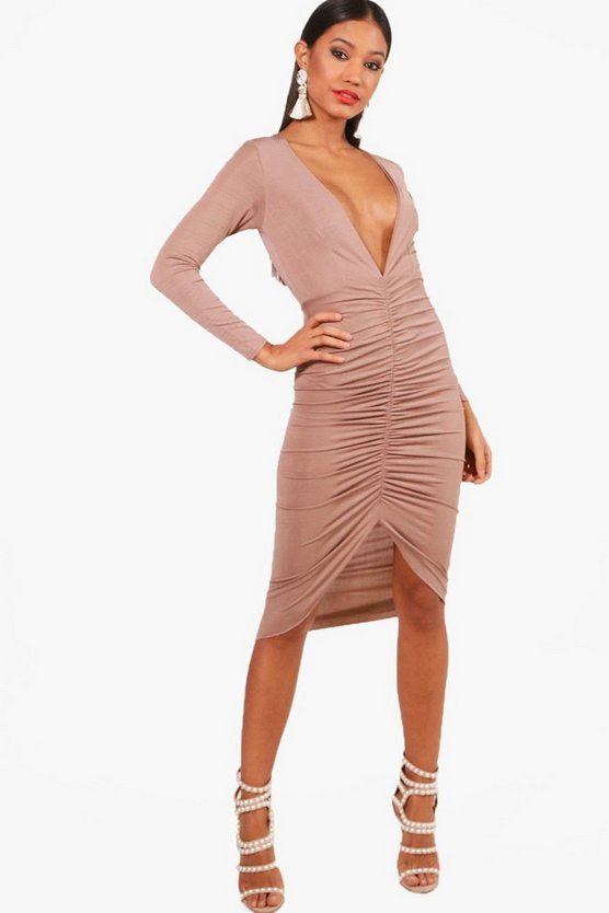 Trish Plunge Neck Ruched Front Bodycon Dress