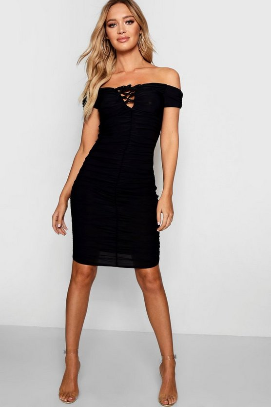 Vi Ruched Off Shoulder Lace Up Bodycon Dress