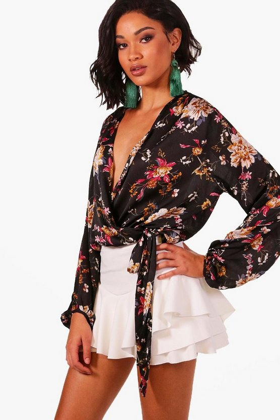 April Wrap Floral Bodysuit