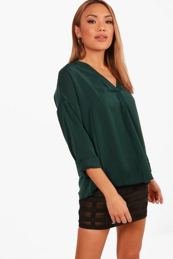 Wendy V Neck Pleat Front Blouse