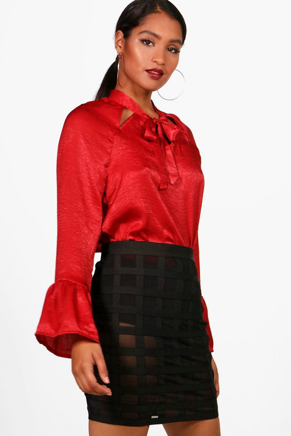Boohoo Satin Laser Cut Tie Blouse Free Shipping Browse Cheap Latest Sale Best Prices Cheap Sale Official wrYEVvnZ
