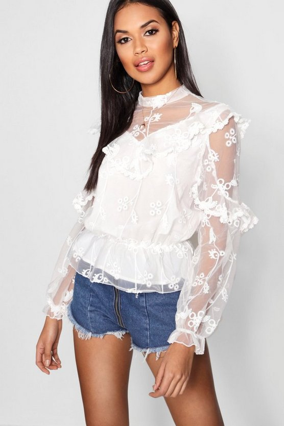 Frill Detail All Over Lace Top