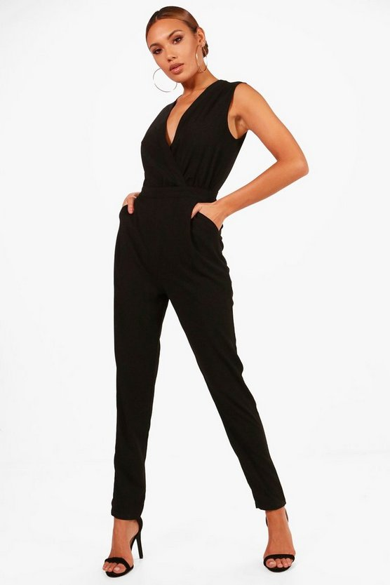 Theresa Wrap Front Skinny Leg Jumpsuit