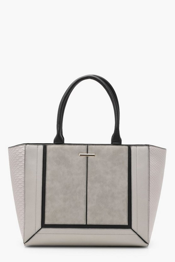 Tia Mixed Panel Tote Bag
