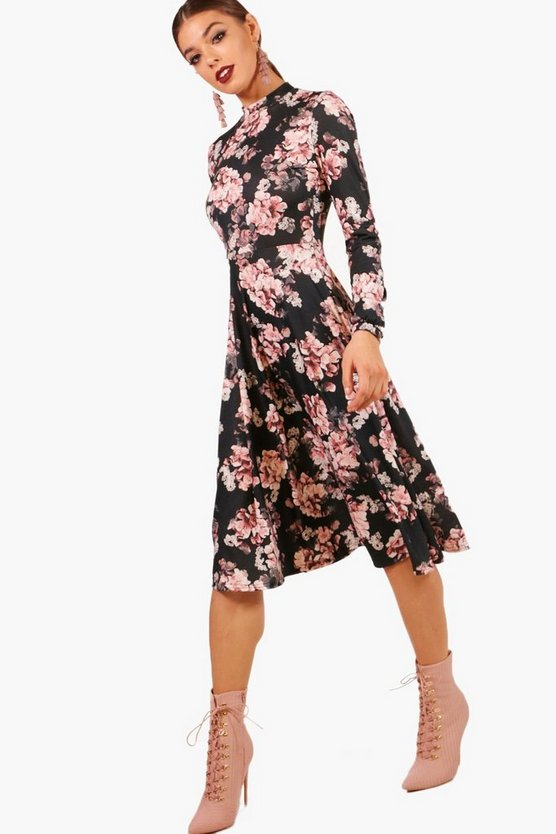 Marlene High Neck Long Sleeve Midi Skater Dress