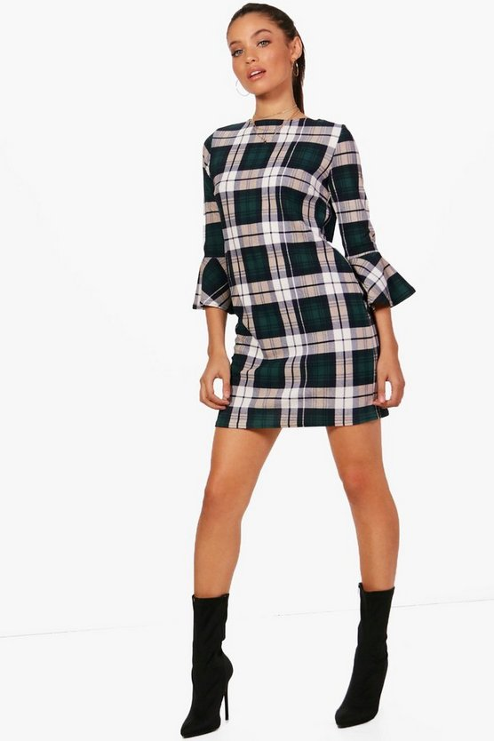 Elouise Checked Flute Sleeve Shift Dress