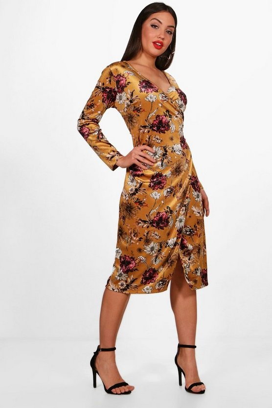 Myla Floral Velvet Wrap Midi Dress
