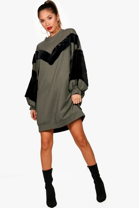 Carolina Chevron Faux Fur Sleeve Sweat Dress