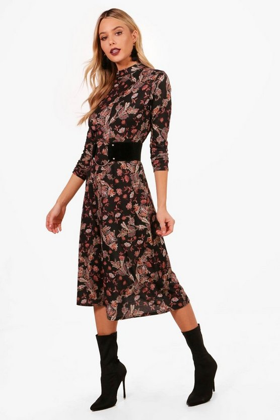 Paisley Print Long Sleeve Midi Dress