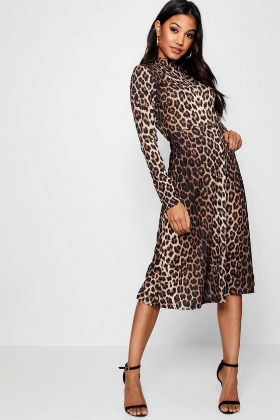 Lianna Leopard Print Long Sleeve Midi Dress