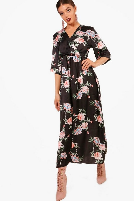 Jenna Floral Satin Wrap Midaxi Dress