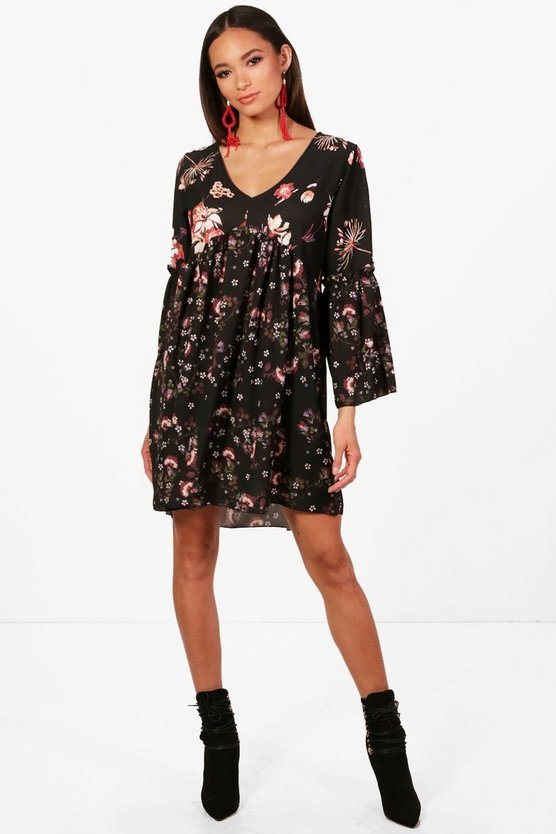 Mixed Print Floral Ruffle Smock Dress