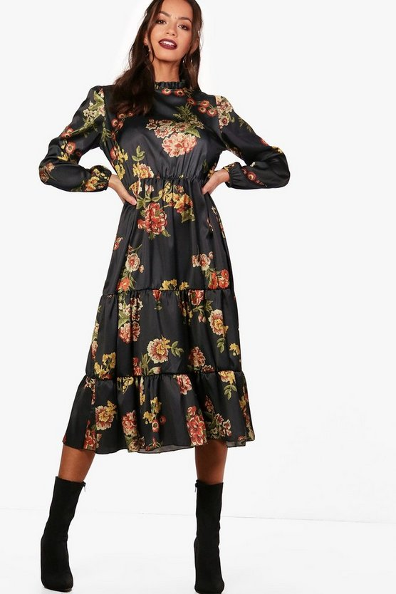 Tia High Neck Tiered Hem Floral Midi Dress