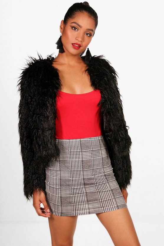 Violet Dogtooth Check Basic Jersey Mini Skirt
