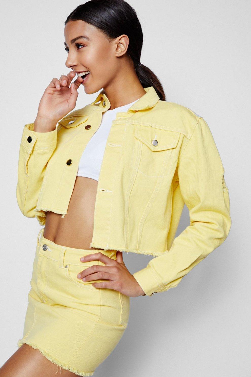 Boohoo Contrast Stitch Cropped Denim Jacket Wiki Cheap Online LuQt8Dt