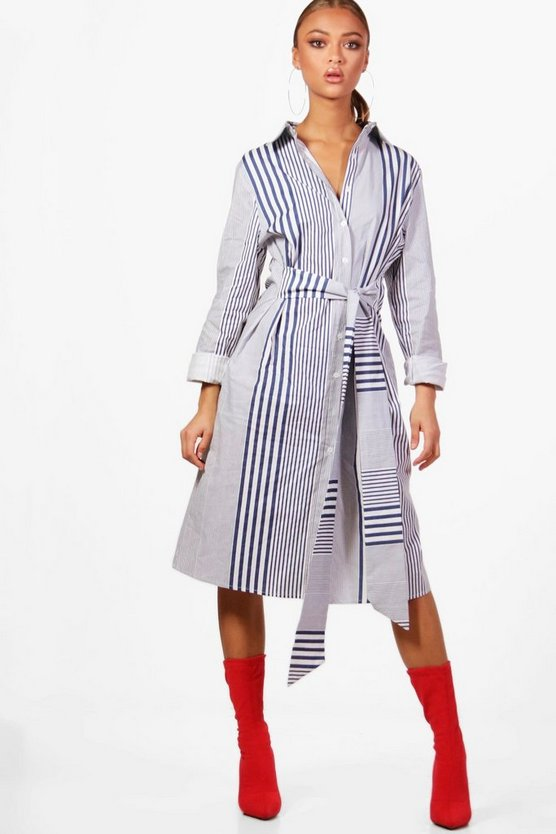 Daisy Belted Stripe Shirt Dress