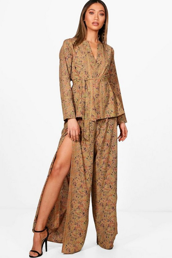 Alison Silky Kimono and Split Trouser Co-ord