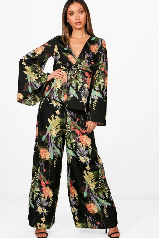 Ana Floral Wide Leg Trouser and Kimono Co-ord