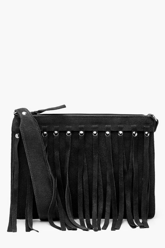 Mia Real Suede Studded Tassel Cross Body