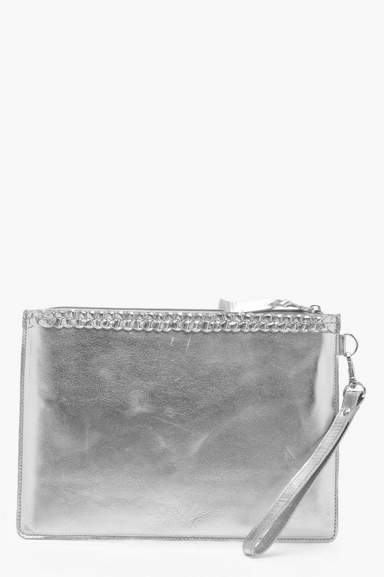 Ivy Real Leather Plait Trim Clutch