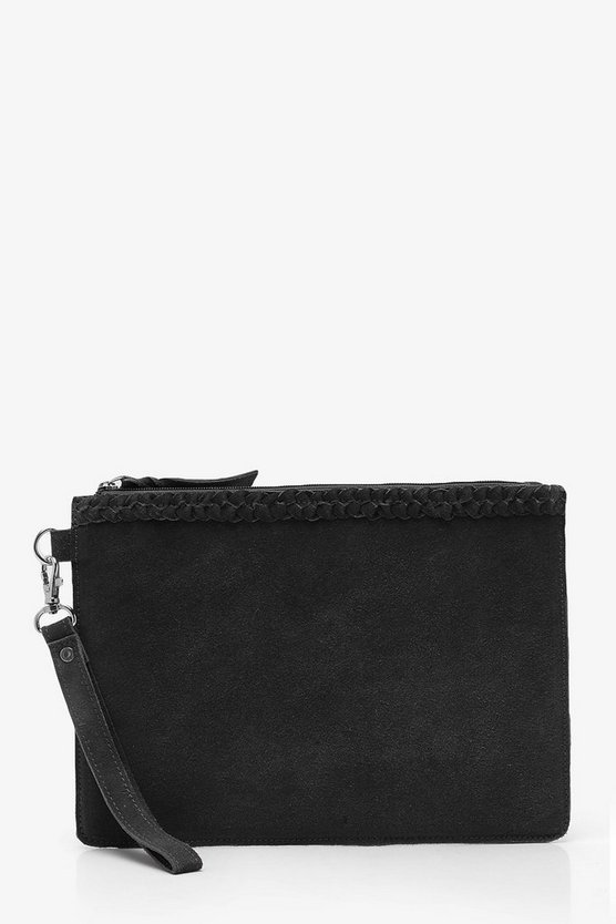 Amy Real Suede Plait Trim Clutch