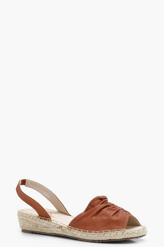 Skye Sling Back Ruched Demi Wedge Sandals