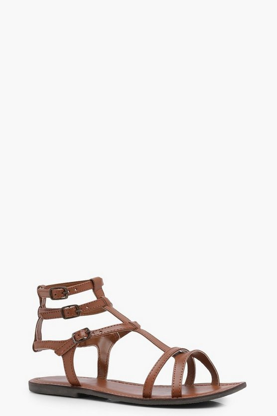 Lydia Leather Gladiator Flat Sandal