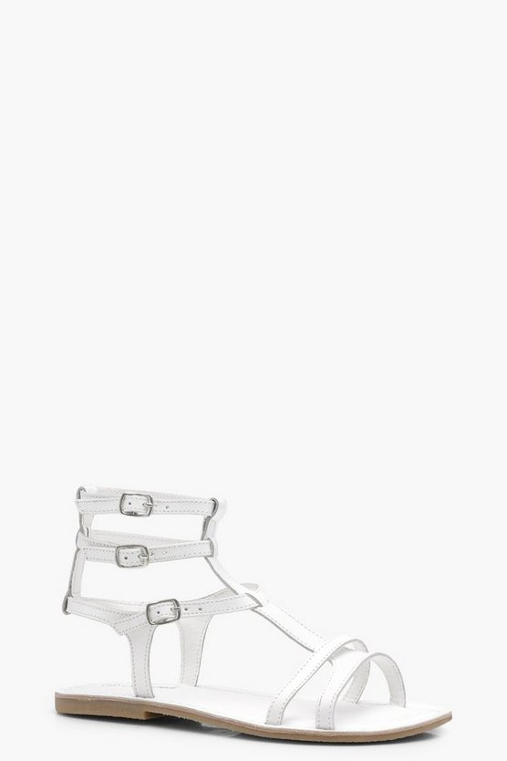 Lydia Leather Gladiator Flat Sandals