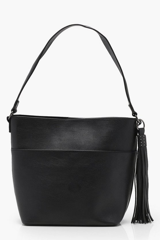 Studded Tassel Slouch Day Bag
