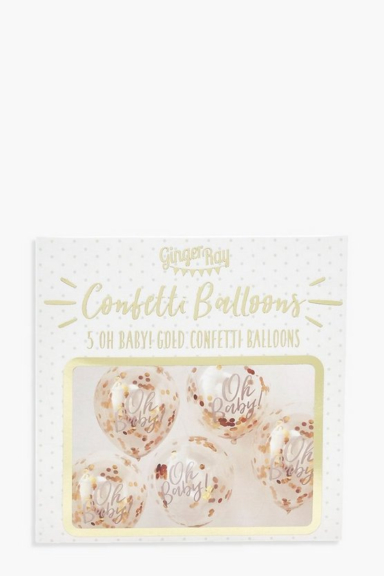 Ginger Ray Oh Baby Gold Confetti Balloons