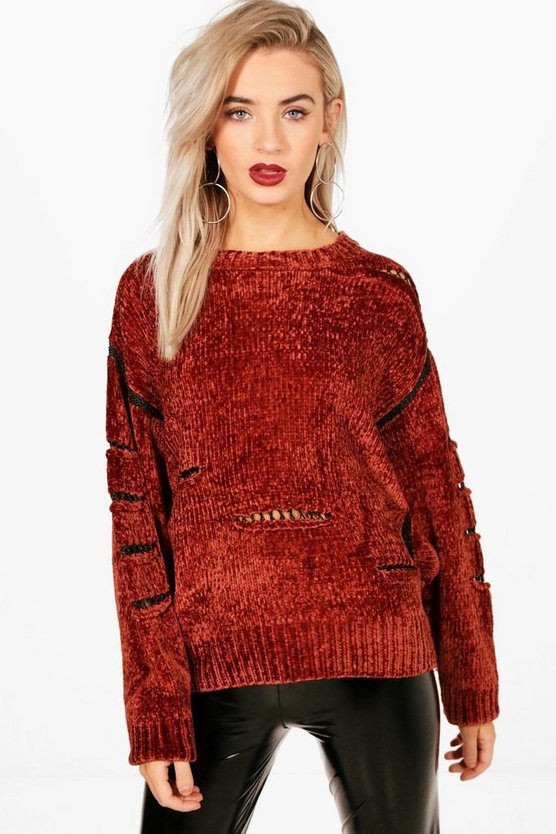 Chenille Distressed Jumper