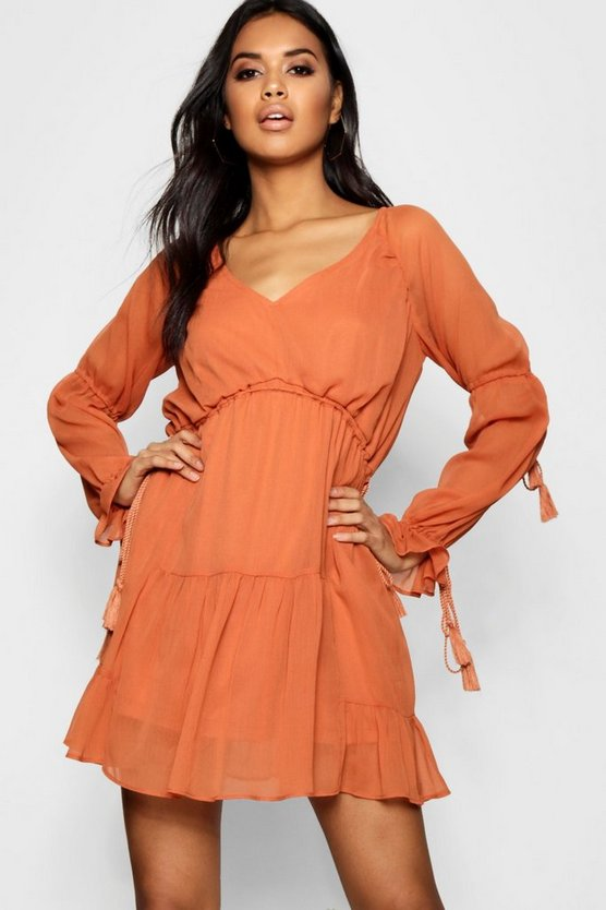 Jayda Chiffon Drawstring Tassel Smock Dress
