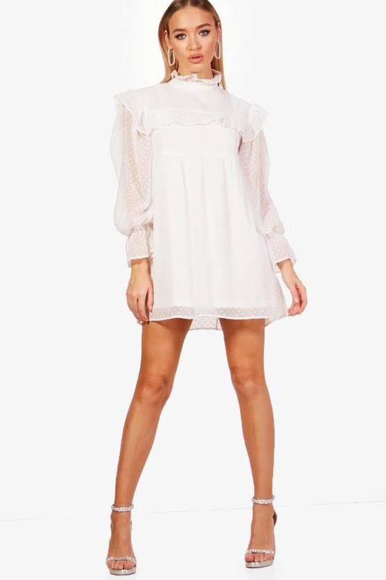 Dobby Spot Ruffle Smock Dress