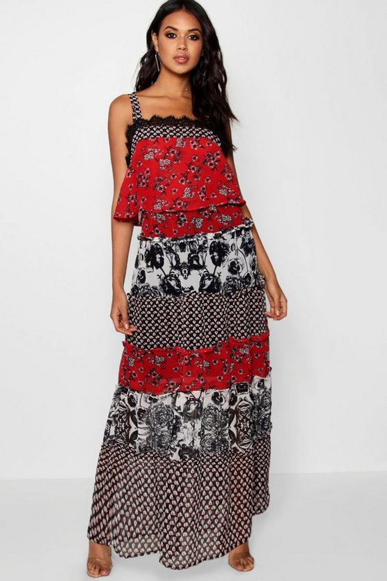 Square Neck Tierred Maxi Dress