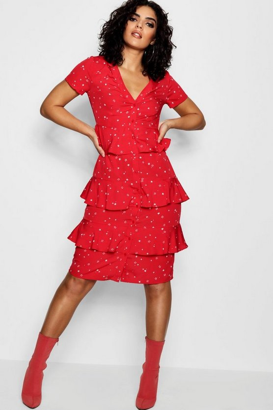 Rosa Star Printed Tierred Shirt Dress