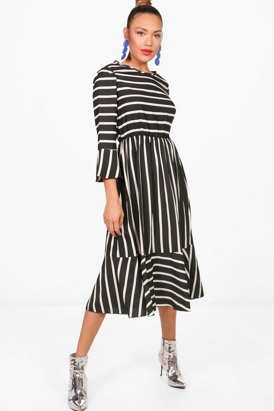 Clarissa Stripe Ruffle Hem Midi Skater Dress