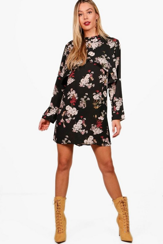 Regan Floral Double Layer Shift Dress