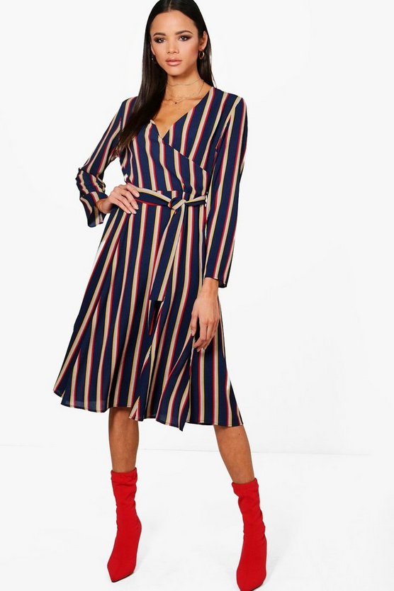 Hallie Stripe Wrap Midi Dress