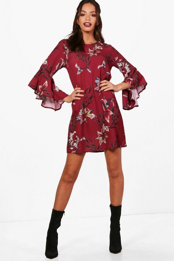 Martha Extreme Ruffle Floral Shift Dress