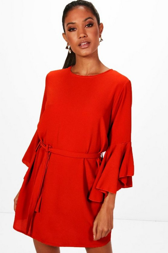 Lana Tierred Ruffle Shift Dress