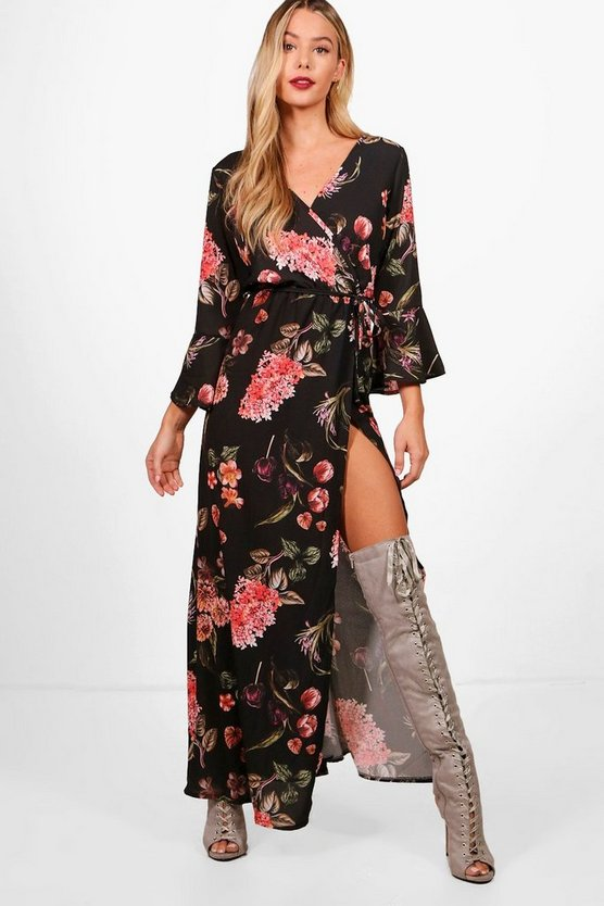 Rebecca Floral Wrap Ruffle Sleeve Maxi Dress